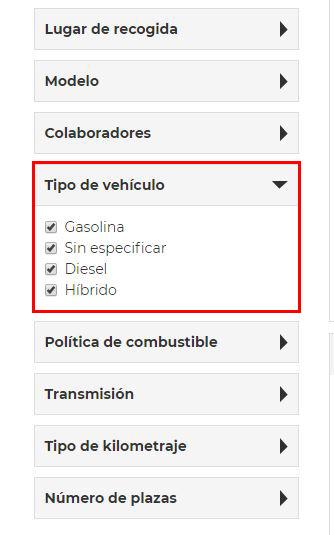 alquiler de coches con pepecar - filtros vehículos